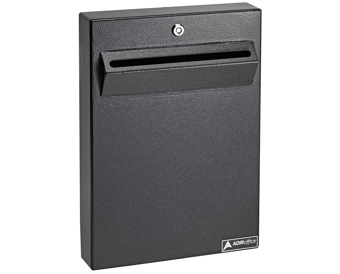 AdirOfffice Wall Mount Drop Box for Secure Document Storage ADI631-14-BLK-