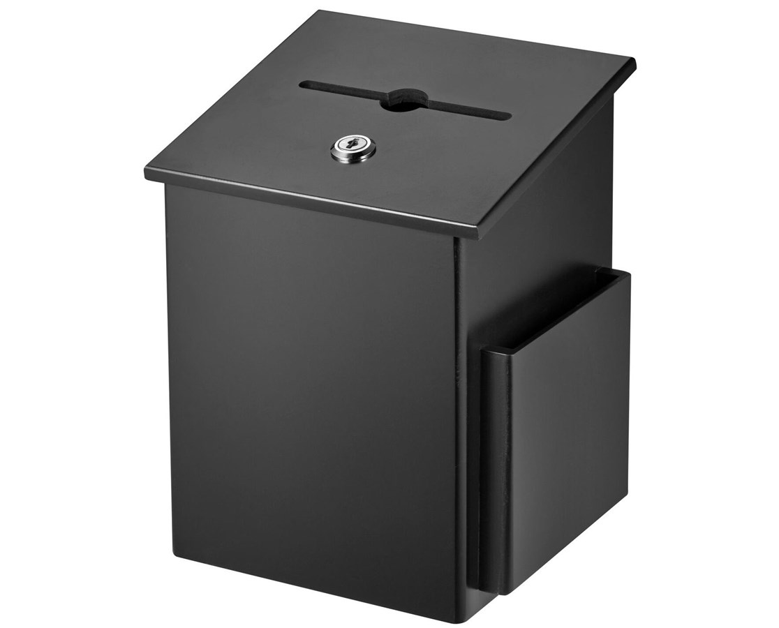AdirOffice Squared Wood Suggestion Box ADI632-01-BLK-