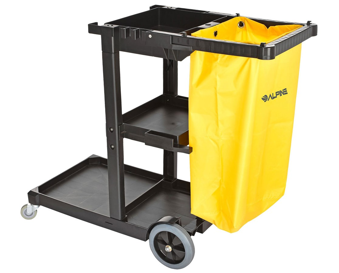 Alpine Janitorial Cleaning Cart with 3 Shelves ALP463