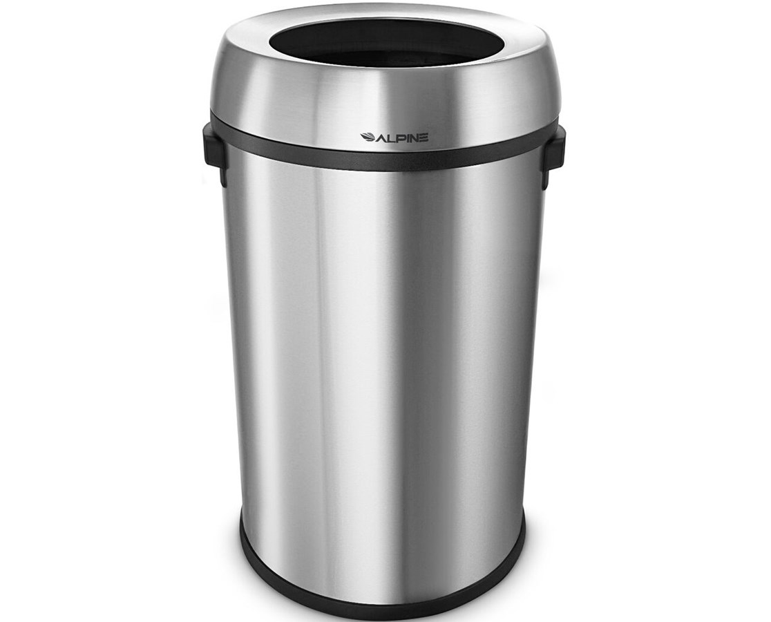 Alpine 17-Gallon Stainless Steel Open-Top Indoor Trash Receptacle ...