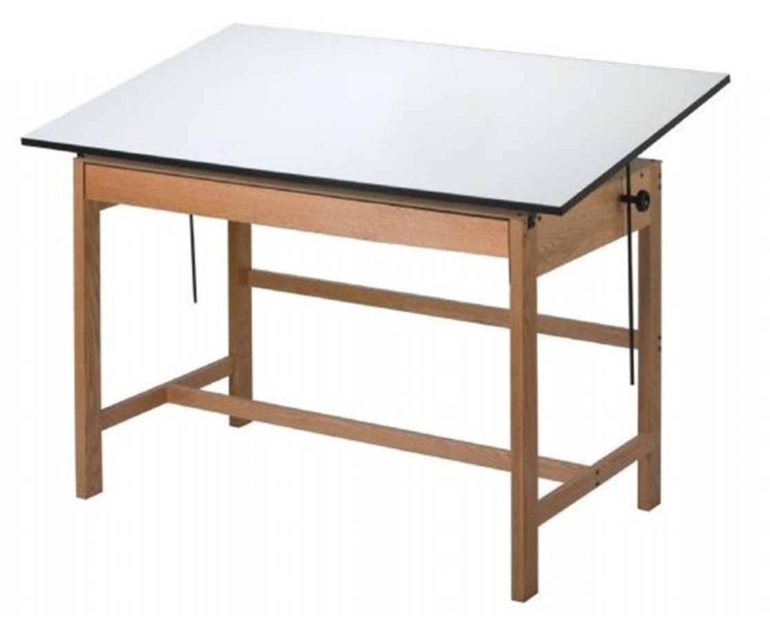 Alvin Wtb42 Titan Solid Oak Wood Drafting Table With Drawer