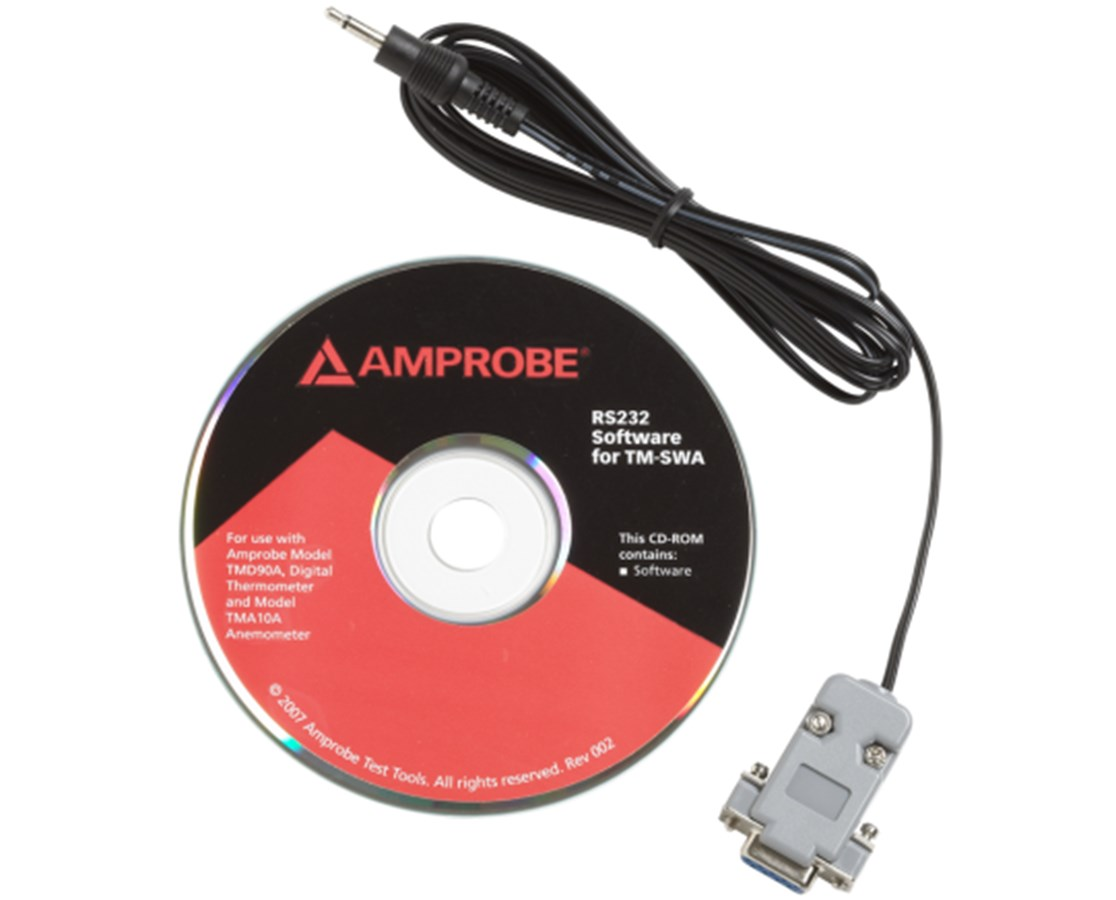 RS-232 Software and Cable for Amprobe Dual Channel Thermometer AMP3027085