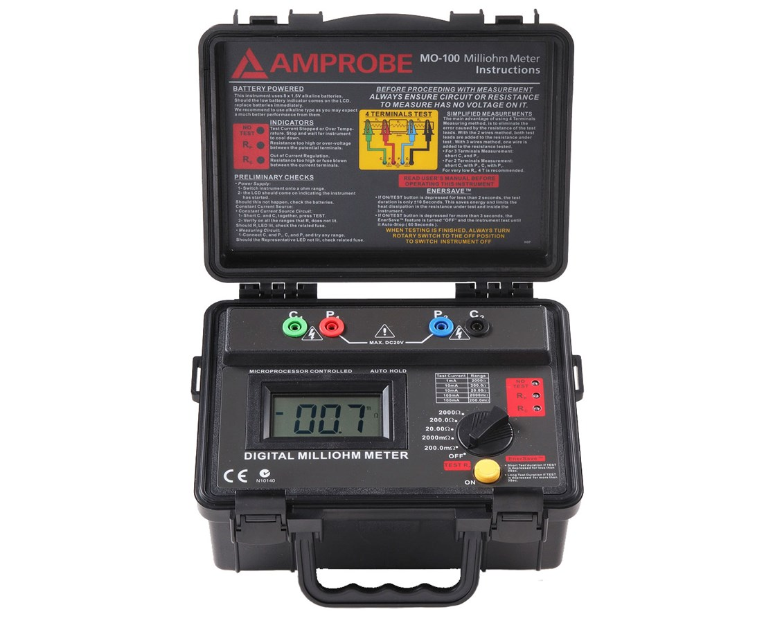 Amprobe MO-100 Battery-Powered Milliohm Meter AMP3474954