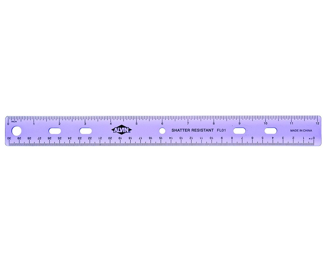 Alvin Plastic 3-Ring Binder Ruler FL01