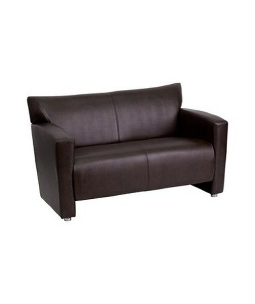 HERCULES Majesty Series Brown Leather Love Seat [222-2-BN-GG] FLF222-2-BN-GG