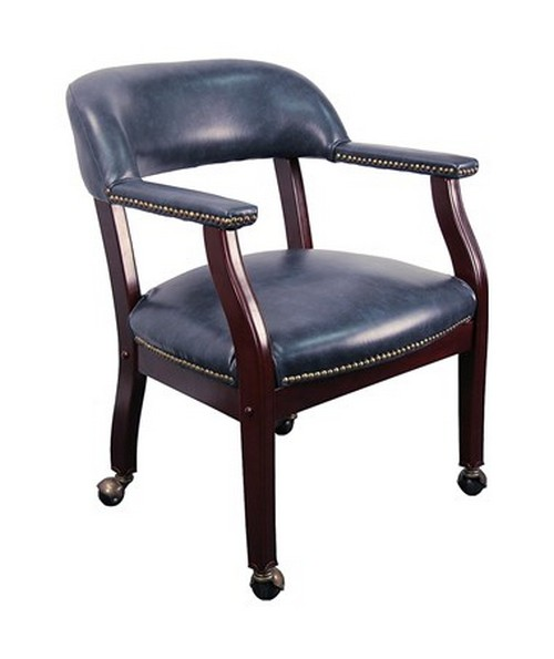 Navy Vinyl Luxurious Conference Chair with Casters [B-Z100-NAVY-GG] FLFB-Z100-NAVY-GG
