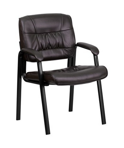 Brown Leather Guest / Reception Chair with Black Frame Finish [BT-1404-BN-GG] FLFBT-1404-BN-GG