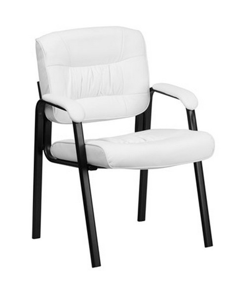 White Leather Guest / Reception Chair with Black Frame Finish [BT-1404-WH-GG] FLFBT-1404-WH-GG