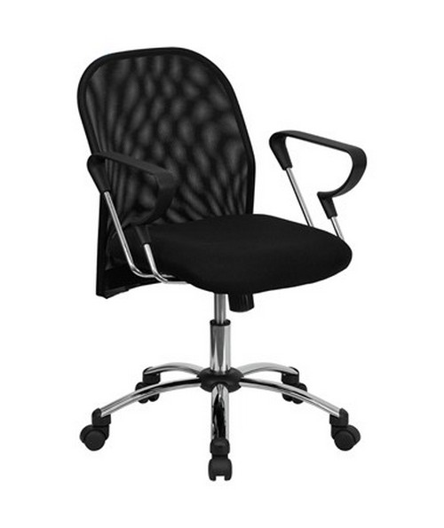 Mid-Back Black Mesh Office Chair with Chrome Base [BT-215-GG] FLFBT-215-GG