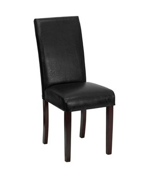 Black Leather Upholstered Parsons Chair [BT-350-BK-LEA-023-GG] FLFBT-350-BK-LEA-023-GG
