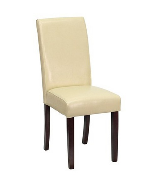 Ivory Leather Upholstered Parsons Chair [BT-350-IVORY-050-GG] FLFBT-350-IVORY-050-GG