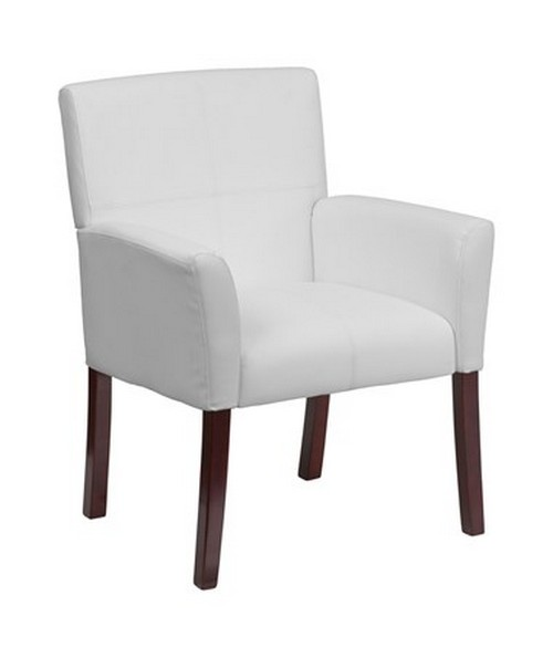 White Leather Executive Side Chair or Reception Chair with Mahogany Legs [BT-353-WH-GG] FLFBT-353-WH-GG