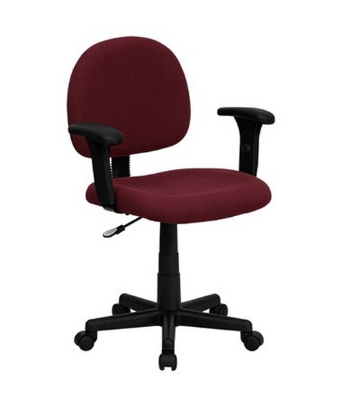 Mid-Back Ergonomic Burgundy Fabric Task Chair with Adjustable Arms [BT-660-1-BY-GG] FLFBT-660-1-BY-GG