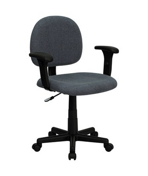 Mid-Back Ergonomic Gray Fabric Task Chair with Adjustable Arms [BT-660-1-GY-GG] FLFBT-660-1-GY-GG