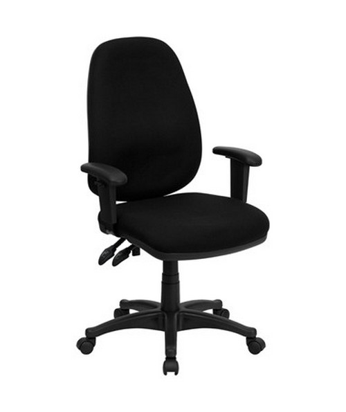 High Back Black Fabric Ergonomic Computer Chair with Height Adjustable Arms [BT-661-BK-GG] FLFBT-661-BK-GG