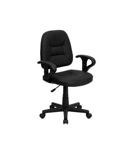 Mid-Back Black Leather Ergonomic Task Chair with Arms [BT-682-BK-GG] FLFBT-682-BK-GG