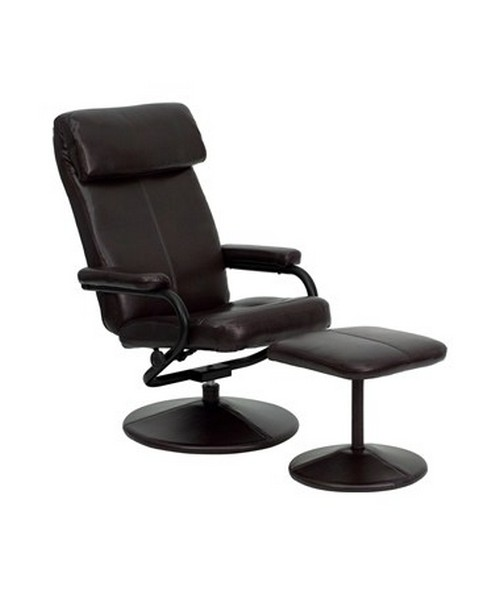 Contemporary Brown Leather Recliner and Ottoman with Leather Wrapped Base FLFBT-7863-BN-GG