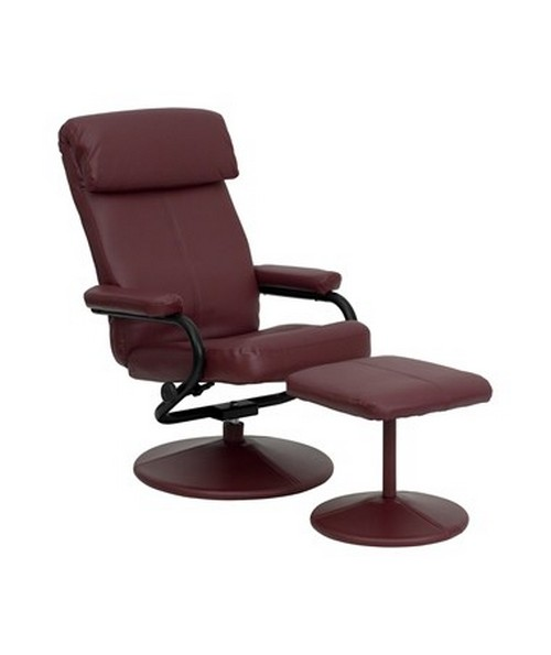 Contemporary Burgundy Leather Recliner and Ottoman with Leather Wrapped Base FLFBT-7863-BURG-GG