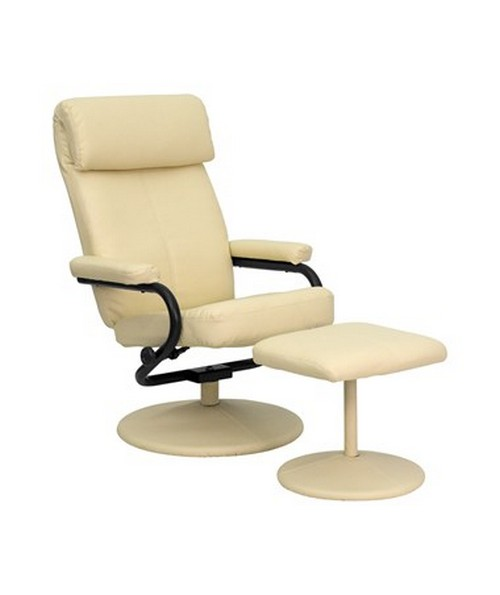 Contemporary Cream Leather Recliner and Ottoman with Leather Wrapped Base FLFBT-7863-CREAM-GG