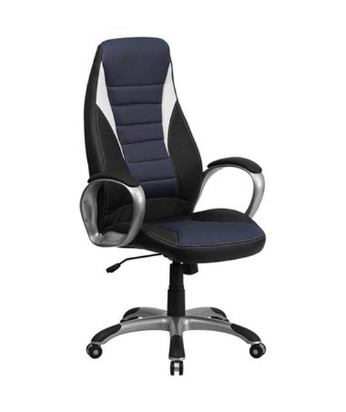 High Back Black Vinyl Executive Office Chair with Blue Mesh Insets [CH-CX0243H-SAT-GG] FLFCH-CX0243H-SAT-GG
