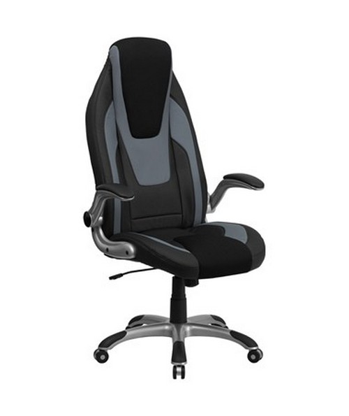 High Back Black & Gray Vinyl Executive Office Chair with Black Mesh Insets and Flip Up Arms [CH-CX0326H02-GG] FLFCH-CX0326H02-GG