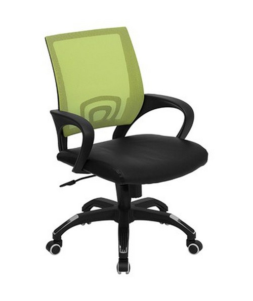 Mid-Back Green Mesh Computer Chair with Black Leather Seat [CP-B176A01-GREEN-GG] FLFCP-B176A01-GREEN-GG