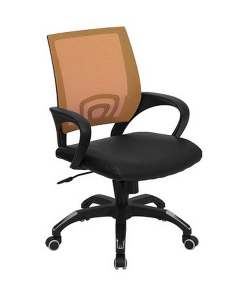 Mid Back Orange Mesh Computer Chair With Black Leather Seat [CP B176A01