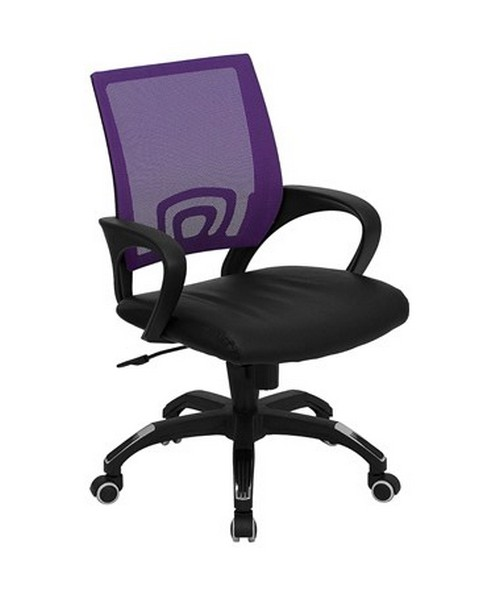 Mid-Back Purple Mesh Computer Chair with Black Leather Seat [CP-B176A01-PURPLE-GG] FLFCP-B176A01-PURPLE-GG