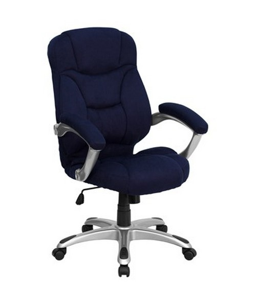 High Back Navy Blue Microfiber Upholstered Contemporary Office Chair [GO-725-NVY-GG] FLFGO-725-NVY-GG