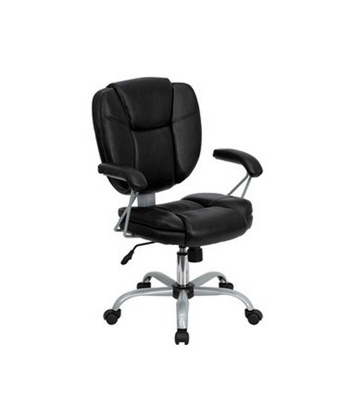 Mid-Back Black Leather Task and Computer Chair [GO-930-BK-GG] FLFGO-930-BK-GG