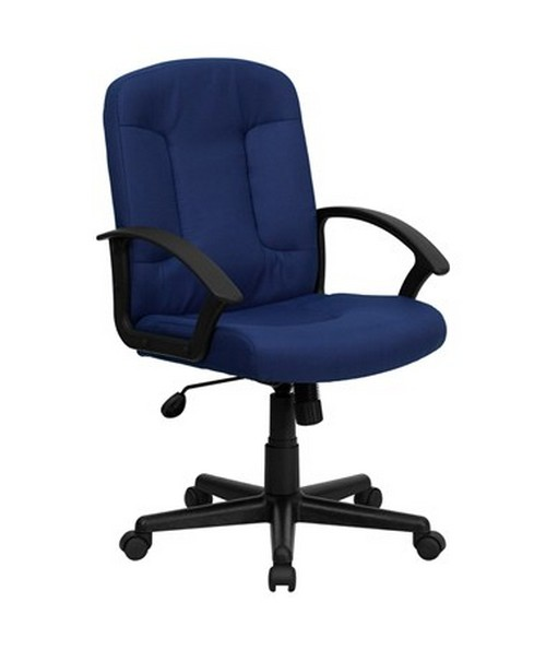 Mid-Back Navy Fabric Task and Computer Chair with Nylon Arms [GO-ST-6-NVY-GG] FLFGO-ST-6-NVY-GG