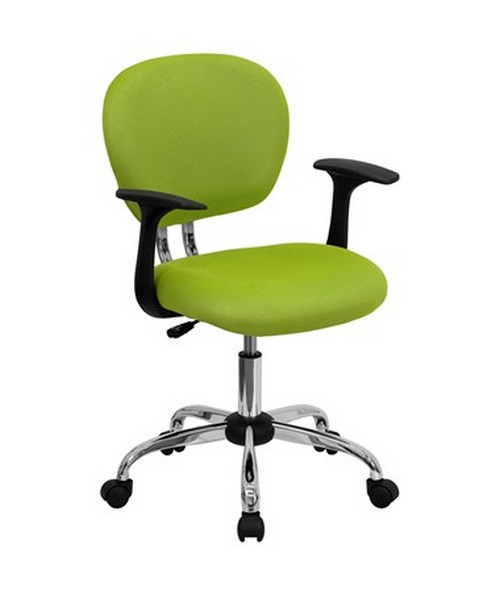Mid-Back Apple Green Mesh Task Chair with Arms and Chrome Base [H-2376-F-GN-ARMS-GG] FLFH-2376-F-GN-ARMS-GG