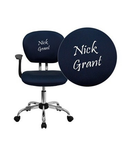 Embroidered Mid-Back Navy Mesh Task Chair with Arms and Chrome Base [H-2376-F-NAVY-ARMS-EMB-GG] FLFH-2376-F-NAVY-ARMS-EMB-GG