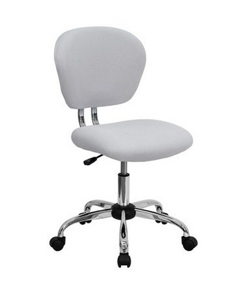 Mid-Back White Mesh Task Chair with Chrome Base [H-2376-F-WHT-GG] FLFH-2376-F-WHT-GG