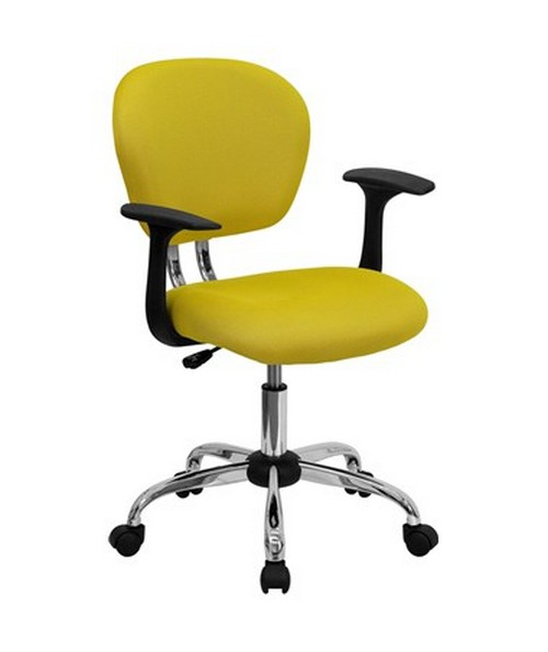 Mid-Back Yellow Mesh Task Chair with Arms and Chrome Base [H-2376-F-YEL-ARMS-GG] FLFH-2376-F-YEL-ARMS-GG