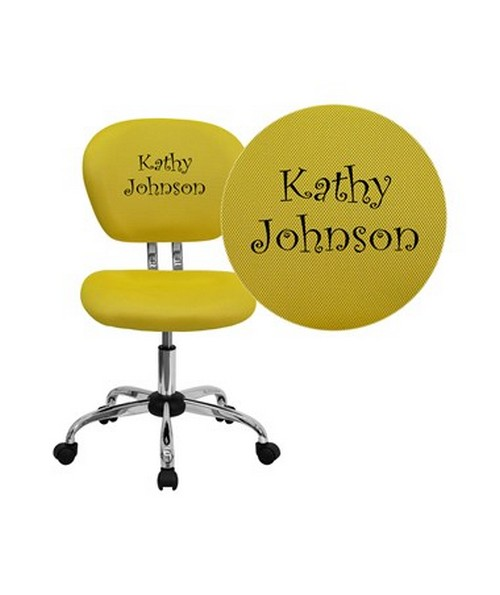 Embroidered Mid-Back Yellow Mesh Task Chair with Chrome Base [H-2376-F-YEL-EMB-GG] FLFH-2376-F-YEL-EMB-GG