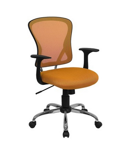 Mid-Back Orange Mesh Office Chair with Chrome Finished Base [H-8369F-ORG-GG] FLFH-8369F-ORG-GG