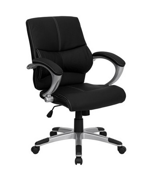Mid-Back Black Leather Contemporary Manager's Office Chair [H-9637L-2-MID-GG] FLFH-9637L-2-MID-GG