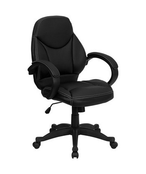 Mid-Back Black Leather Contemporary Office Chair [H-HLC-0005-MID-1B-GG] FLFH-HLC-0005-MID-1B-GG