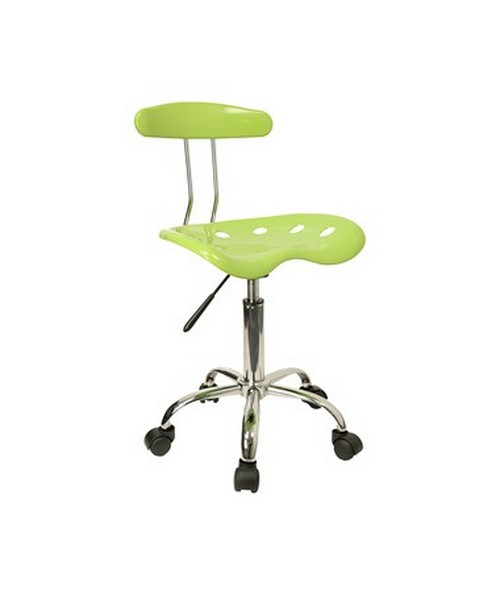 Vibrant Apple Green and Chrome Computer Task Chair with Tractor Seat [LF-214-APPLEGREEN-GG] FLFLF-214-APPLEGREEN-GG