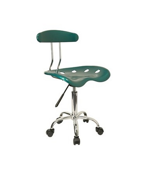 Vibrant Green and Chrome Computer Task Chair with Tractor Seat [LF-214-GREEN-GG] FLFLF-214-GREEN-GG
