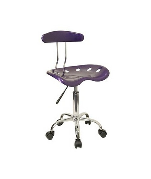 Vibrant Violet and Chrome Computer Task Chair with Tractor Seat [LF-214-VIOLET-GG] FLFLF-214-VIOLET-GG
