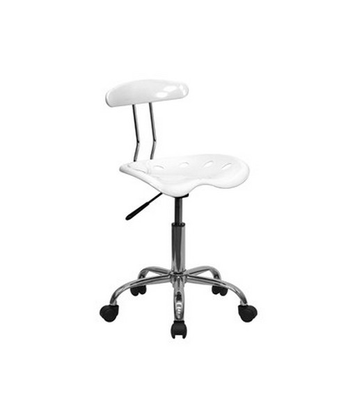 Vibrant White and Chrome Computer Task Chair with Tractor Seat [LF-214-WHITE-GG] FLFLF-214-WHITE-GG