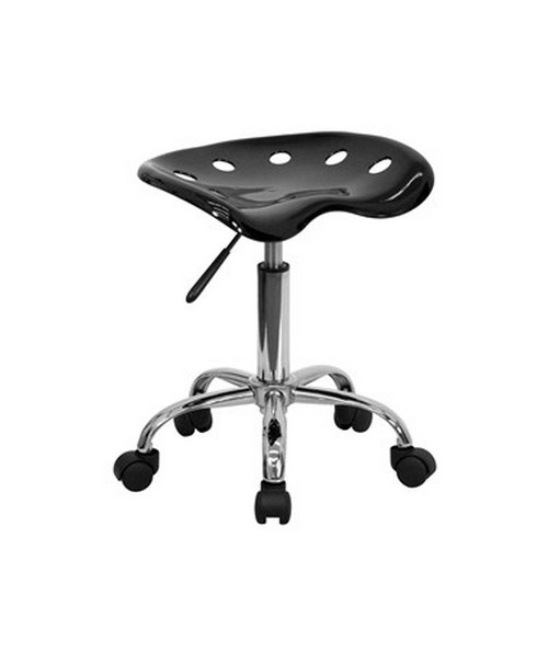 Vibrant Black Tractor Seat and Chrome Stool [LF-214A-BLACK-GG] FLFLF-214A-BLACK-GG