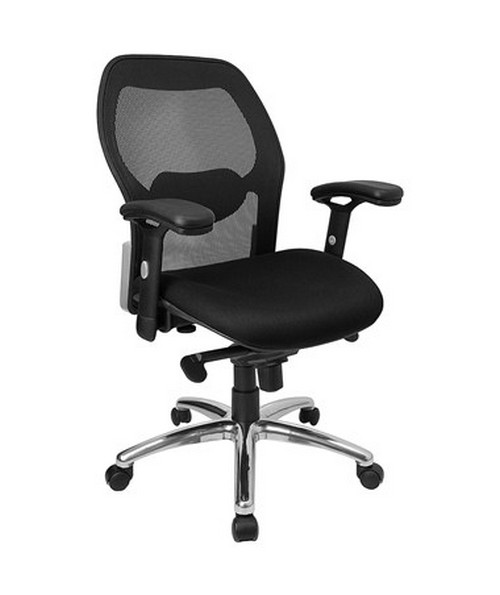Captivating Mid Back Super Mesh Office Chair With Black Fabric Seat And Knee Tilt  Control [