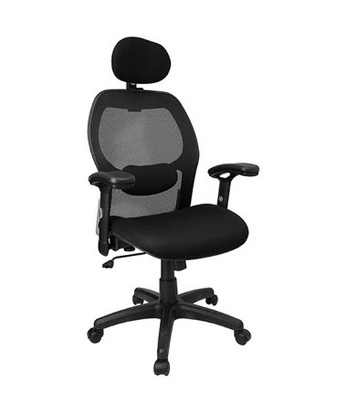 High Back Super Mesh Office Chair with Black Fabric Seat [LF-W42B-HR-GG] FLFLF-W42B-HR-GG