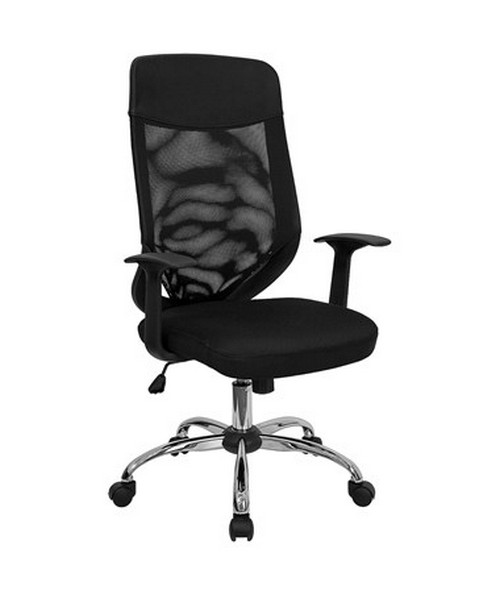 High Back Mesh Office Chair With Fabric Seat Lf W952 Gg