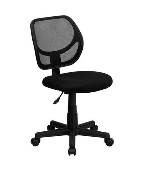 Mid-Back Black Mesh Task Chair and Computer Chair [WA-3074-BK-GG] FLFWA-3074-BK-GG