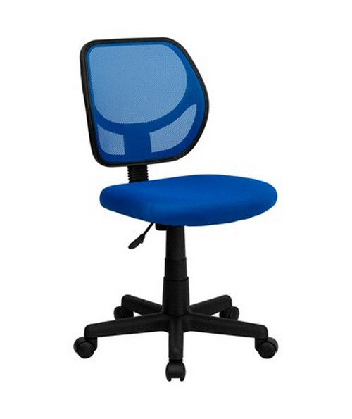 Mid-Back Blue Mesh Task Chair and Computer Chair [WA-3074-BL-GG] FLFWA-3074-BL-GG