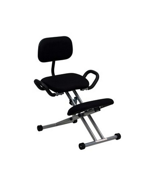 Ergonomic Kneeling Chair in Black Fabric with Back and Handles [WL-3439-GG] FLFWL-3439-GG